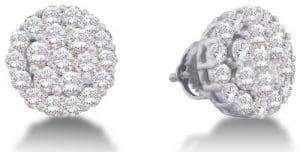 Sonia Jewels 14k Or blanc Forme ronde Diamant blanc