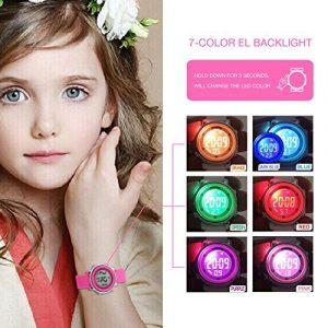 ENFANTS en silicone extérieur Sport insolite Digital électrique coloré luminescent étanche enfants Dress montre bracelet avec alarme et chronomètre pour filles–Rose
