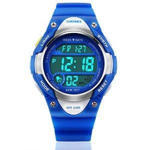 ENFANTS Sports de plein air pour enfants imperméable montre poignet avec LED Digital Alarme Chronomètre léger en silicone pour garçon fille–Bleu
