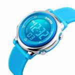 Jardin pour enfants Sport LED Digital électrique luminescent étanche Alarme enfant Dress montre bracelet avec chronomètre et élastique en silicone pour garçons filles–Bleu