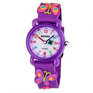 Montre Enfant Zeiger Montre Enfant Fille 3D Motif Papillon Violet Time Teacher Cadran pedagogique KW106 Montre d'enfant Fille Montre Fille Quartz