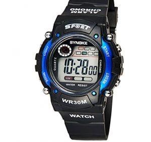 Yezelend Multifonction Digital Boy quartz LED Alarm Date Sport montre-bracelet étanche (Bleu)