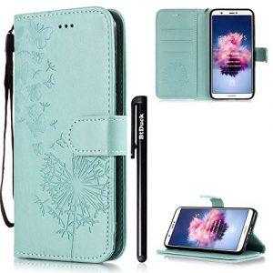 Btduck Huawei P Smart/Profitez 7S Coque de téléphone Cuir Portefeuille Case Effacer téléphone Flip Book Coque anti-chocs Fermeture magnétique #Butterfly Green