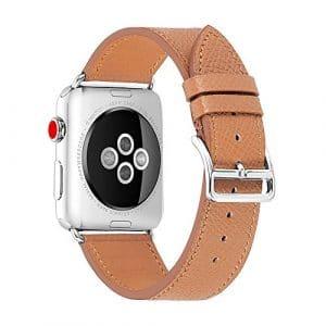 CHIMAERA Remplacement pour Apple Watch Band, 38mm 40mm 42mm 44mm Cuir véritable iwatch Bande de avec Adaptateur de Fermoir en métal Inoxydable pour série 4/3/2/1