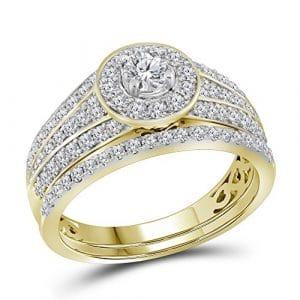 Sonia Jewels 14k Or jaune Forme ronde G-H Diamant blanc