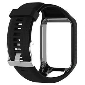 Silicagel Bracelet de montre bracelet de remplacement de 25cm de long pour montre GPS TomTom Série 2/3, noir