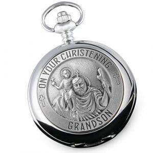 Cadeau de baptême pour petit-fils ST Christophe en étain Fonction montre de poche dans une luxueuse boîte en bois, cadeau à partir de grands-parents