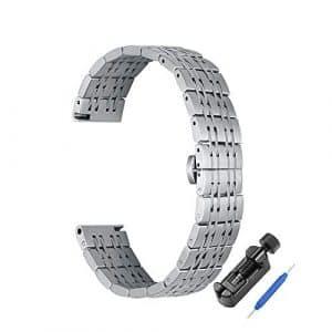 iStrap Bracelet de Montre Bracelet métallique en Acier Inoxydable 22mm 20mm 18mm Bracelet de Remplacement pour Bracelet de Montre pour Homme, Argent, Rosegold