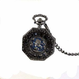 Anaw Steampunk – Montre de Poche mécanique Squelette octogone de Ton Or Vintage avec chaîne – Cadeaux