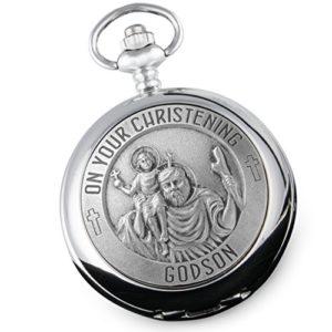 Montre de poche de baptême en étain pour filleul avec l'inscription «On Your Christening Godson», cadeau de parrain/marraine