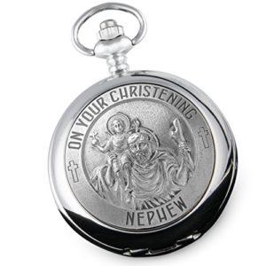 neveu de baptême ST Christophe en étain Fonction montre de poche, cadeau à partir de Aunty et Uncle
