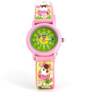 Baby Watch – Montre enfant – Fille – Zip Vache – La montre pédagogique – Plastique gomme vert avec dessins 3D – Avec méthode d'apprentissage