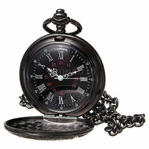 Montre de poche – SODIAL(R)retro Steampunk Noir romain numeraux Collier Quartz Pendentif Montre de poche Cadeau