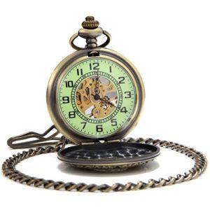 Sewor Gentleman Style sculpté Squelette lumineux remontage manuel montre de poche (Bronze creux)