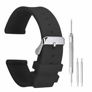 18mm Bracelets en Caoutchouc Durable avec Tige réglable Boucle Noire de Remplacement de la Bande de Silicone pour Les Montres