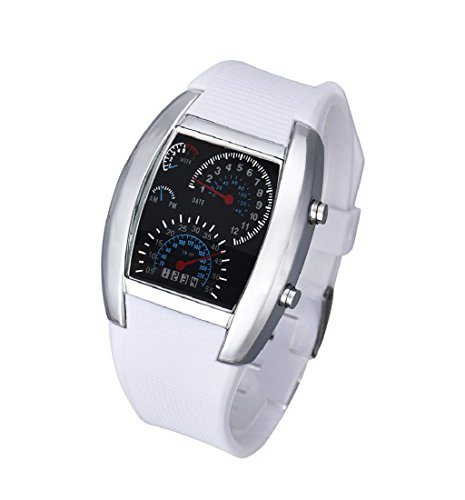 ❤️Amlaiworld Mode Aviation Turbo Dial Montre Flash LED Montre Hommes Lady Sports Montre (Montre, Blanc)