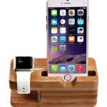 Apple Watch stand,AICase iWatch Bois de Bamboo Support de Chargeur Dock Station Cradle pour Apple Watch et iPhone 7 7 Plus 6 6 Plus 5S 5