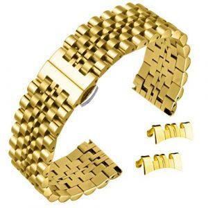AUTULET 22mm Bracelets de Bracelet de Montre en Acier Inoxydable en Or Courbes et Droites Se termine