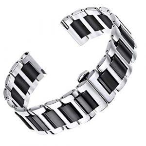 AUTULET de Bande de Montre Bracelet de Lien en céramique de 20 mm homm ES en Argent et noiren Acier Inoxydable 316L