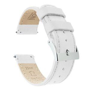Barton Bracelet de montre en cuir grainé à libération rapide Différentes largeurs disponibles 19mm White Leather & Stitching
