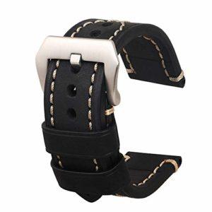Bracelet De Montre Hommes Remplacement en Cuir Véritable Vintage Grande Boucle en Acier Inoxydable Adapté pour Montre Accessoires De Remplacement 20 mm Noir