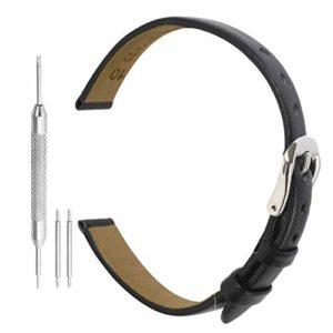 Bracelet de Montre Noir 8mm Cuir Véritable Noir des Femmes de 8 mm Mince Ceinture de Sangle Bracelet