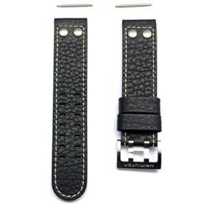 Bracelet en cuir noir bande Montre Hamilton Khaki X Wind auto 22mm h600.776.116