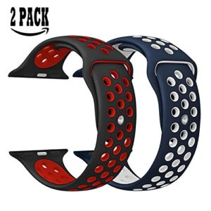 Bracelet Silicone pour Apple Watch 2PCS KZKR Bracelet pour Apple Watch Strap 38mm Série 1/2/3 Sport Montre Bracelet en Silicone Noir + Rouge/Bleu Marine + Blanc