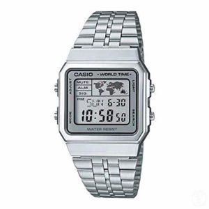 Casio – A500WA-7D – Vintage – Montre Mixte – Quartz Digital – Cadran LCD – Bracelet Acier Gris