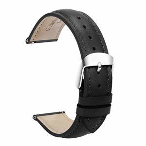 Cuir Véritable Quick Release Montre Bracelet Bande 18mm Remplacement Dégagement Rapide Fixation Rapide Inoxydable Polie Boucle ,Super Doux Rembourré (18mm 19mm 20mm 22mm)