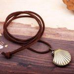 Dunbasi Montre de Poche Collier de Cuir pour Hommes Femmes, Coquillage Vintage Pendentif Charm Longue Chaîne Médaillon Cadeau personnalisé