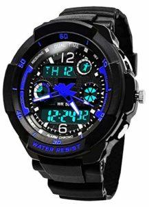 ENFANTS Digital montres pour garçons, pour enfants Sports de plein air montre analogique avec alarme/Timer/EL lumière, adolescents électroniques poignet montres avec 5 ATM étanche/résistant aux chocs