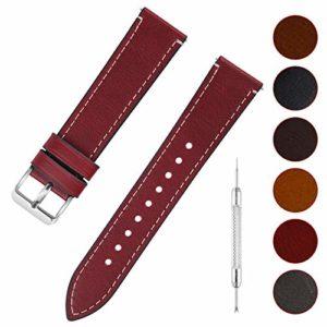 Fullmosa 6 Couleurs Bracelet de Montre en Cuir à l'huile, 14mm 16mm 18mm 20mm 22mm 24mm Bracelet Montre Retro avec Goupille à Dégagement Rapide, 16mm Rouge+Boucle en Argent
