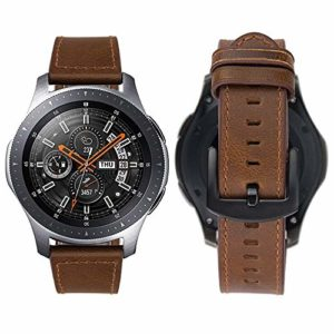 Gear S3 Bracelet, iBazal Gear S3 Frontier / Classic Bracelet de Montre 22mm Vintage Véritable Bracelet en Cuir pour Samsung Gear S3 Frontier / Classic SM-R760, Samsung Galaxy Watch 46mm [Style Vintage] – Café Simple