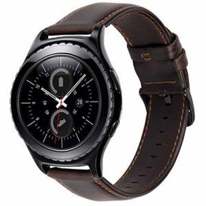iBazal 20mm Bracelet Cuir Libération Rapide pour Samsung Galaxy Watch 42mm/Active; Huawei Watch 2;Gear S2 Classic; Gear Sport; TICHWATCH 2/E/Active/Classic;Garmin Vivoactive 3/Vivomove HR – Café/Negro