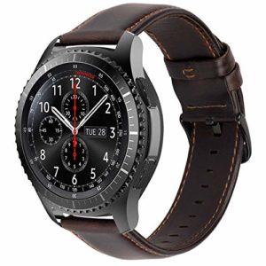 iBazal 22mm Bracelet Cuir Dégagement Rapide pour Gear S3 Frontier/S3 Classic SM-R760,Galaxy Watch 46mm SM-R800,Huawei Watch GT,Huawei Watch 2 Classic,Moto 360 2nd Gen 46mm Montre – Café élégant