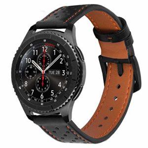iBazal 22mm Bracelet Cuir pour Samsung Gear S3 Frontier/Classic SM-R760, Moto 360 2nd Gen 46mm, Huawei Watch 2 Classic – Noir/Orange