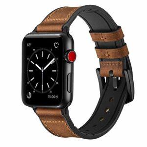 iBazal Compatible Apple Watch Series 4 Bracelet 44mm Cuir, iWatch Bracelet Apple Watch 42mm Bande Hybride Caoutchouc Remplaçant 42mm 44mm Apple Watch Série 4/Série 3/Série 2/Série 1 – Hybride Marron42