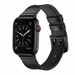 iBazal Compatible Apple Watch Series 4 Bracelet 44mm Cuir, iWatch Bracelet Apple Watch 42mm Bande Hybride Caoutchouc Remplaçant 42mm 44mm Apple Watch Série 4/Série 3/Série 2/Série 1 – Hybride Noir 42