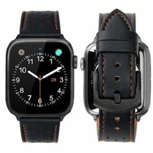 iBazal Compatible avec Apple Watch Series 4 Bracelet 44mm Cuir, iWatch Bracelet Apple Watch 42mm Bande de Cuir Véritable iWatch Bracelet Remplaçant 42mm 44mm Apple Watch Série 4 / Série 3 / Série 2 / Série 1 – Noir Respirant