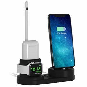 iitrust Apple Watch Support, 4 en 1 Airpods Stand (iPhone/iWatch/airpods/Apple Pencil), pour Airpods,iPhone 8/8Plus,iPhone 7/7Plus,iPhone 6/6sPlus