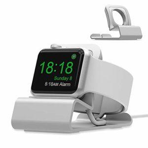 Iitrust Support Apple Watch, Apple Watch Stand Alliage d'Aluminium Support Mode Chevet Compatible avec Apple Watch Serie 4/3/2/1(N'inclut pas le câble) (Argent)