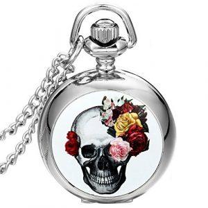 JewelryWe Montre de Poche Quartz Fleur Rose Tête de Mort Crâne Gothique Diable Rétro Pendentif Collier Alliage Fantaisie pour Femme Couleur Argent avec Sac Cadeau