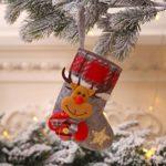 Longzjhd Petit Sac de Bas de Noël Arbre De Noël Ornement Décoration Fête Vacances Noël Décor Cadeau Mini Bas de Noël Petits Cadeau Bas de Noël et Traiter Les Sacs Vaisselle Chaussettes Suspendues