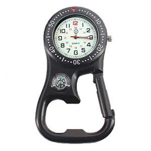Mini montre à clip ceinture 3 en 1 noir mousqueton avec boussole pour camping, randonnée, outil de survie, montre de poche free size Noir