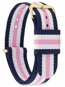 MOMENTO Bracelet de Montre pour Homme et Femme NATO Nylon Tissu avec Boucle en Acier Inoxydable en Or Jaune et Tissu Bleu Blanc Rose en 18mm