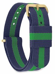 MOMENTO Bracelet de Montre pour Homme et Femme NATO Nylon Tissu avec Boucle en Acier Inoxydable en Or Jaune et Tissu Bleu Vert en 18mm