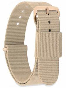MOMENTO Bracelet de Montre pour Homme et Femme NATO Nylon Tissu avec Boucle en Acier Inoxydable en Or Rose et Tissu Beige en 14mm