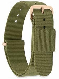 MOMENTO Bracelet de Montre pour Homme et Femme NATO Nylon Tissu avec Boucle en Acier Inoxydable en Or Rose et Tissu Vert Militaire (Armée) en 14mm