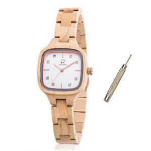 Montre à quartz en bois faite à la main – Légère – Bracelet réglable en bois naturel – Pour femmes 1.49X1.1inches Bois d'érable